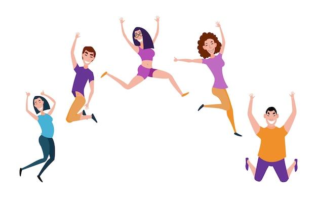 上げられた手でジャンプ若い人たちのグループ