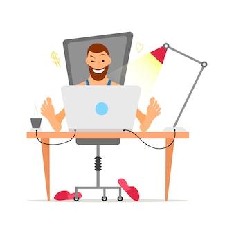 彼の机からリモート作業ひげフリーランサーを持つ男性