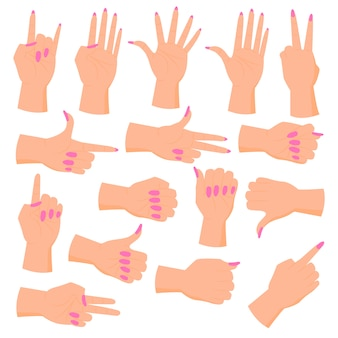 女性の手を設定します。さまざまなジェスチャーの手。