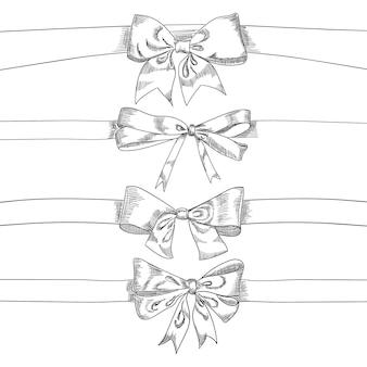 弓リボンは、白い背景、ベクターグラフィックの分離をスケッチします。