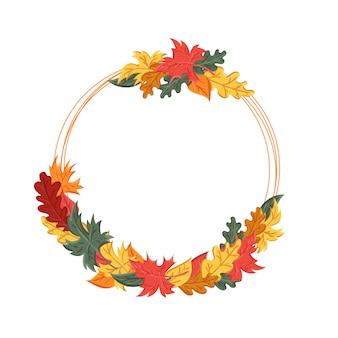 秋の紅葉と丸いフレーム。葉の秋のイメージと背景。