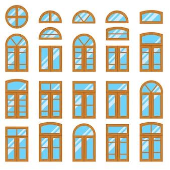 ヴィンテージの木製または木製の窓枠ビューのセット