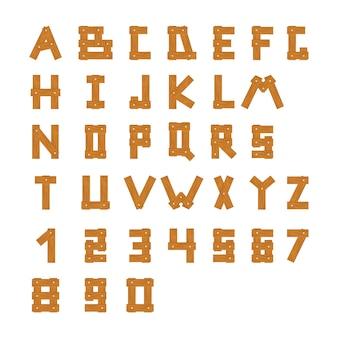 Деревянные блоки алфавита с буквами и цифрами