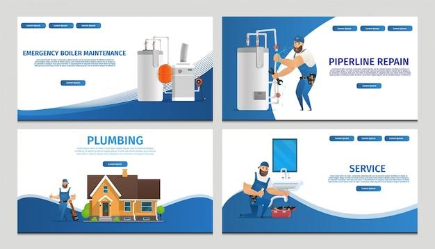 Векторная иллюстрация концепция страница сантехник сервис