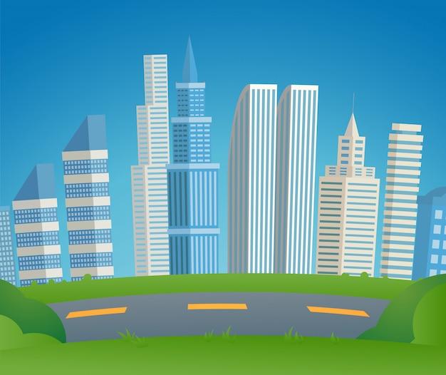 Векторная иллюстрация мультяшный городской пейзаж мегаполис.