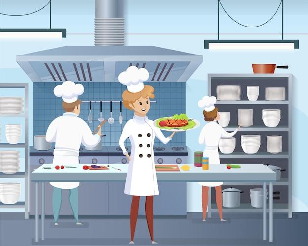 Мультяшный повар держит в руке готовое блюдо