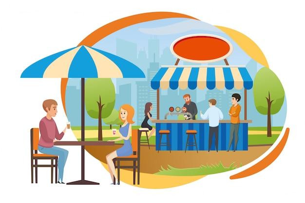 ストリートバーまたは都市公園ベクトルのファーストフードカフェ
