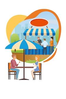ストリートカフェまたはサマーバーのシティパークフラットベクトル