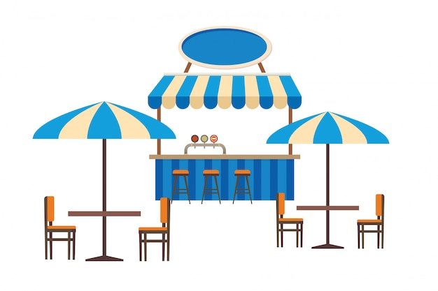 ストリートカフェや屋外レストランのフラットベクトル