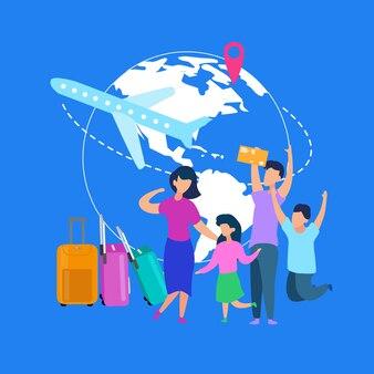 家族の夏休みの旅フラットベクトルの概念