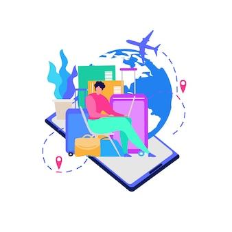 旅行者のためのモバイルサービスフラットベクトルの概念