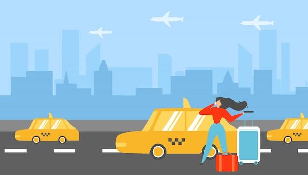 旅行の女性呼び出しタクシーフラットベクトルの概念