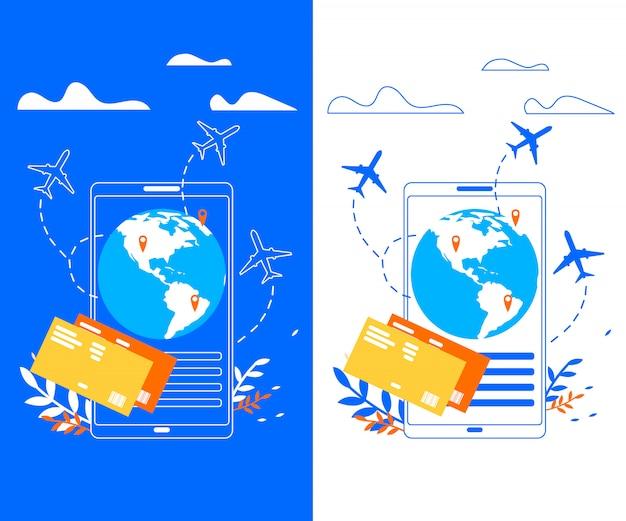 旅行者フラットベクトルバナーのモバイルアプリケーション