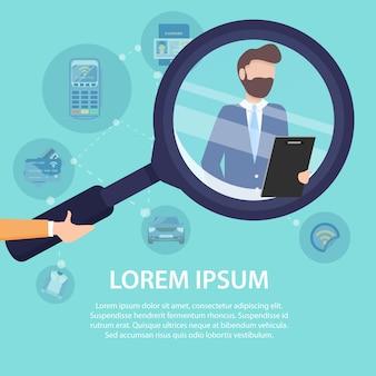 Найди свой бизнес-команда векторный шаблон плаката