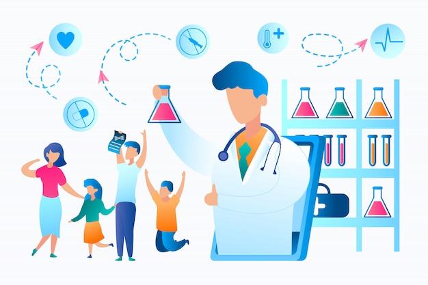 ベクトル族は肯定的結果分析を喜ぶタブレットの画面からオンラインで白い医療ガウンでフラット図医師は良い結果を報告します。生物医学研究所医療制度
