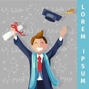 Вектор концепция иллюстрация мультфильм счастливые студенты