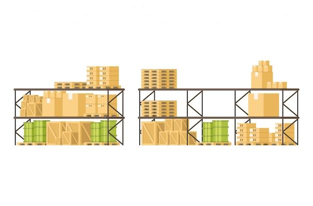 倉庫の棚の箱の貨物負荷そして商品