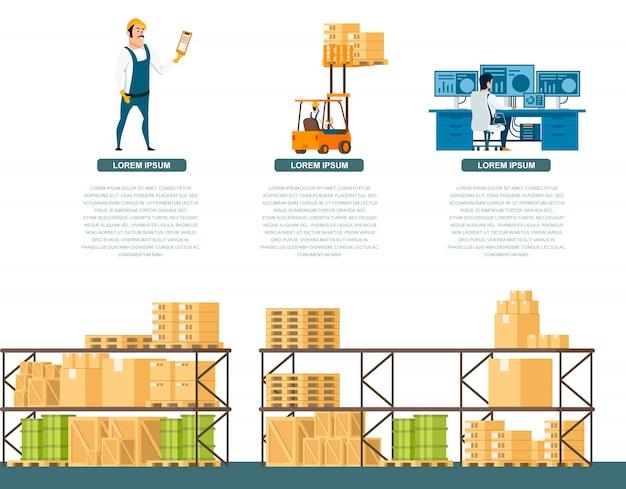 倉庫梱包および供給管理バナー