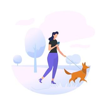公園で犬を連れて歩いて若い女性キャラクター