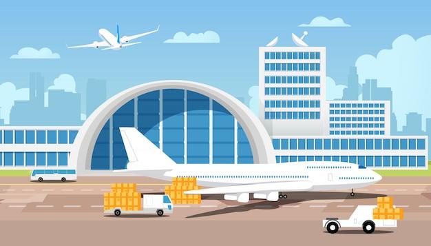 Самолет и посылки на грузовиках приходят со склада