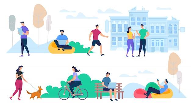 Люди, выполняющие летний городской активный отдых