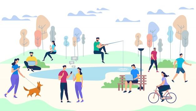 公園の背景に男性と女性のキャラクターの生活