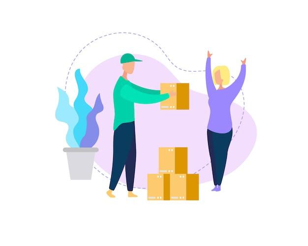 若い女性消費者への宅配便の配達箱小包
