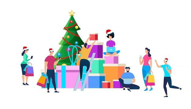 クリスマスのお祝いの準備をするお祝いの人々