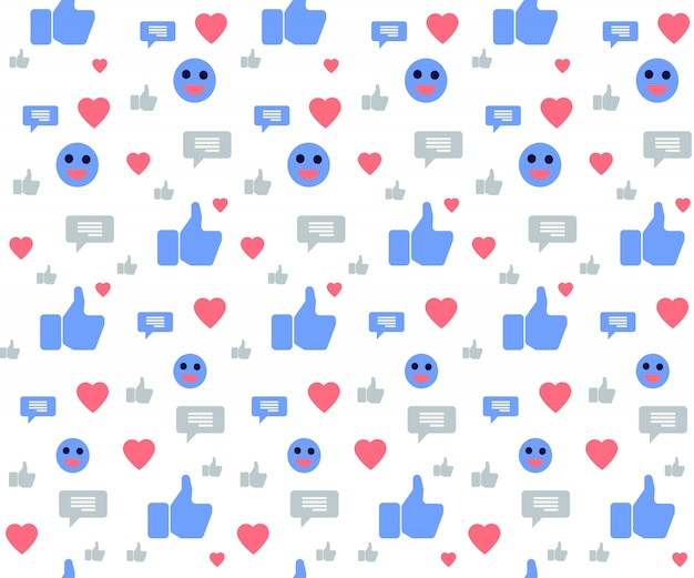 白のソーシャルメディアのアイコンとのシームレスなパターン