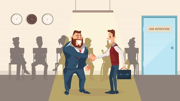 ビジネスの男性の笑みを浮かべてオフィスの廊下で手を振る
