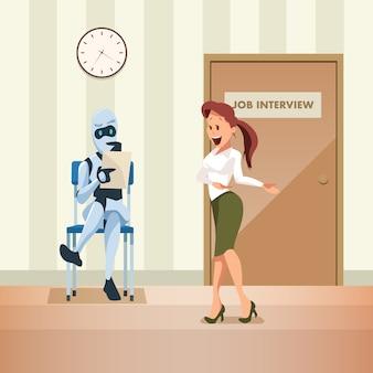 ロボットが廊下のドアで就職の面接を待つ