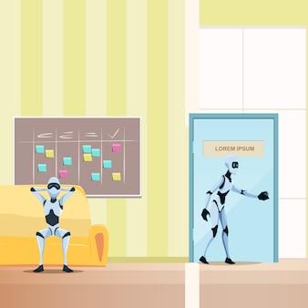 ソファの上のリラックスしたロボット、男性のボットがドアに入る