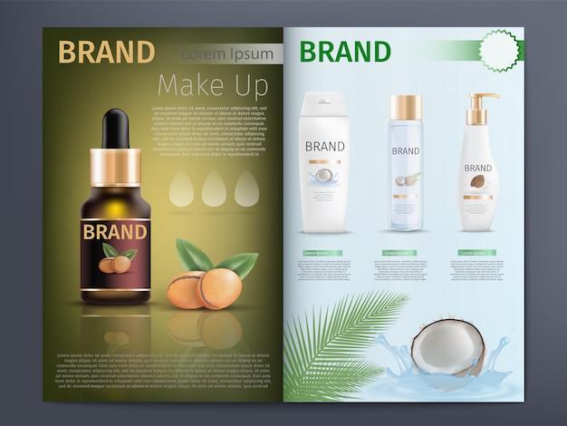 化粧品カタログまたはパンフレットの型板