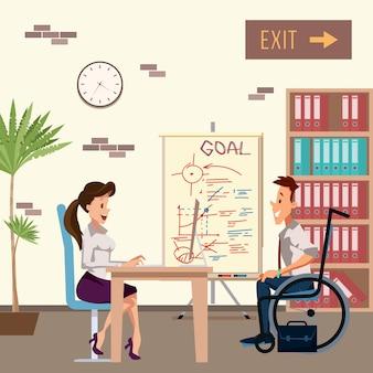 障害者の男性がオフィスの女性と面接