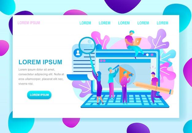 Шаблон веб-страницы плоских векторных образовательных курсов