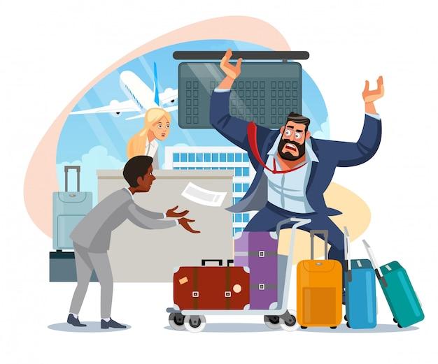 ビジネスマン遅く飛行機の漫画のベクトル