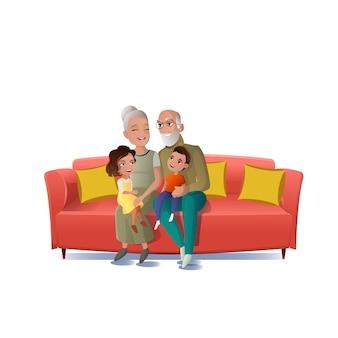 Бабушка и дедушка играют с внуками вектор