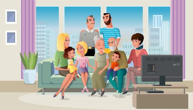 年配のカップルが子供たちと一緒に時間を過ごす