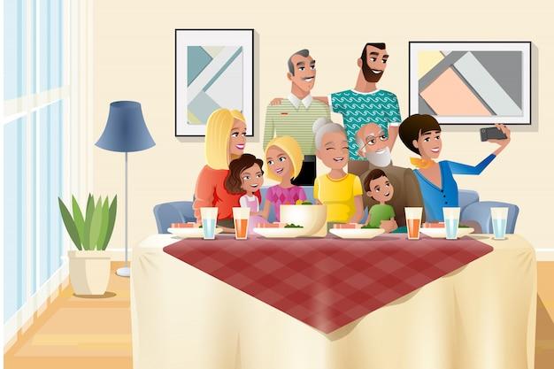 自宅で大家族の休日ディナー漫画のベクトル