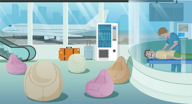 Аэропорт зал ожидания услуги мультфильм вектор