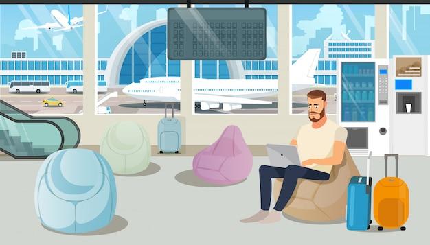 Аэропорт, удобный зал ожидания, мультфильм вектор
