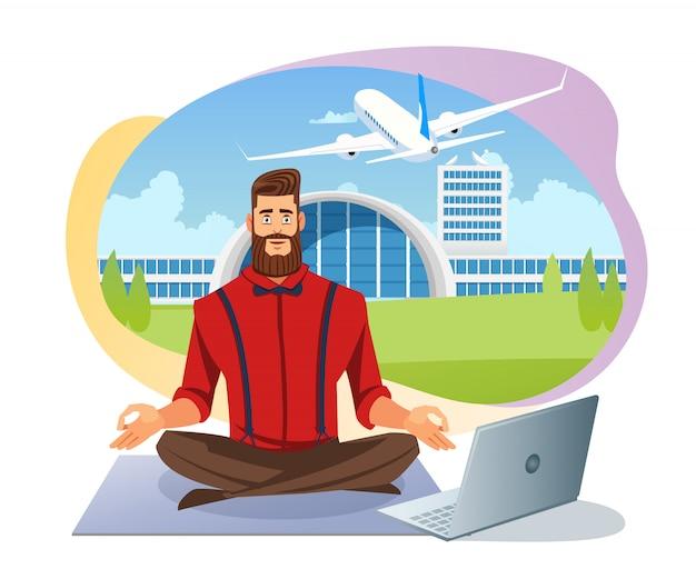 Легкая авиакомпания бронирование билетов плоский векторный концепт