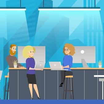 オープンスペースのコワーキングチームのコミュニケーションコンセプト。