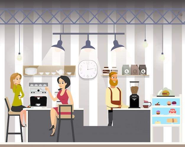 Деловая женщина пьет кофе в кафе. офисный работник с перерывом