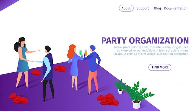 Партийная организация горизонтальный баннер с парами
