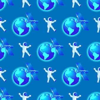 宇宙飛行士のシームレスパターンは宇宙で飛ぶ。