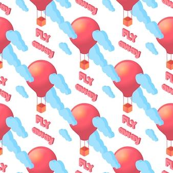 Бесшовные шаблон красных воздушных шаров и облаков