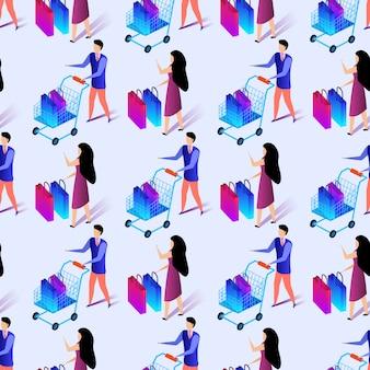 シッピングをする人々のシームレスパターン。印刷する