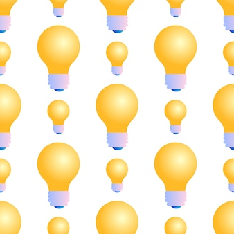 白い背景の上の電球のシームレスパターン