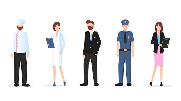 男性と女性の様々な職業の文字セット